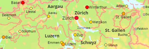 Switzerland Cantons and Cities