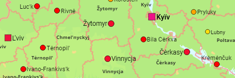 Ukraine Provinces and Major Cities