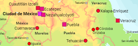 Mexico States and Major Cities